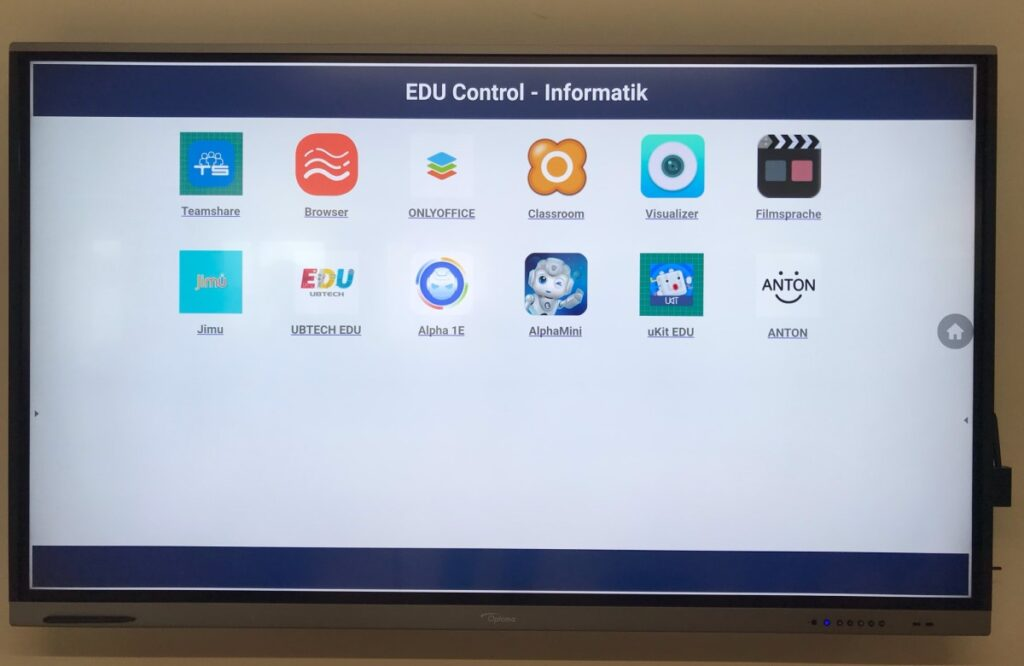 EDU Control Profil Informatik aktiv auf Optoma IFP